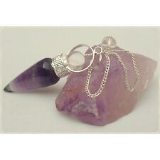 Natural Amethyst Cone Pendulum WIth Beautiful Design & Crystal Sphere At Top