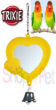 BIRD MIRROR TOY BELL FOR CAGE BUDGIE CANARY or SMALL BIRDS PET VARIOUS COLOURS