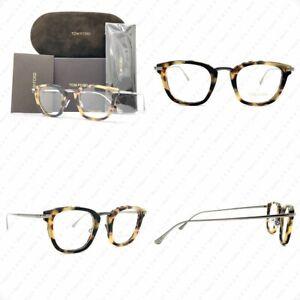 Authentic Tom Ford TF5496 056 47mm Matte Tortoise Chrome w/Demo Lens Eyeglasses