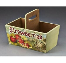 Wooden Container Box with Strawberry Design