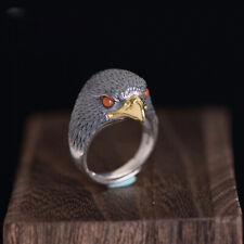 Vintage Eagle Bird Mens Wedding Ring Statement Solid Sterling Silver Falcon Hawk