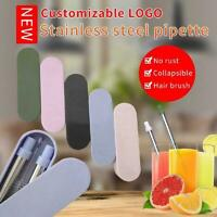 Portable Folding Stainless Steel Drinking Straw Reusable Straw with Storage Case