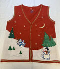 Ugly Christmas Sweater Cardigan  Vest Women's Size L 12-14 Red Snowman Tree Snow