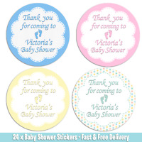 24 x Premium Personalised Baby shower Thank You Stickers