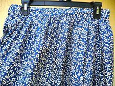 Vtg Lightweight Blue White Floral Made In Usa Union Label S M Skirt Travel Women