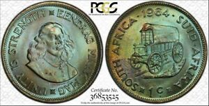 1964 SOUTH AFRICA 1 CENT BU PCGS MS64 Color Toned Coin Only 9 GRADED HIGHER