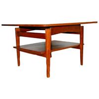 Mid Century Jens Risom Two Tier Table Garmica top with Walnut Bottom shelf