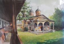 Landscape monastery chappel church print signed