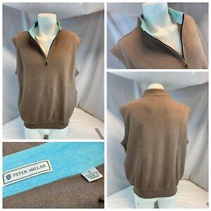 "Peter Millar Golf Vest Pullover L Men Brown ¼ Zip 100"" Cotton Mint YGI A1-360"
