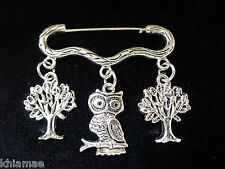 """""""Wise Old Owl"""" Forest Cloak Brooch pagan silver pin owl tree wiccan jewellery"""