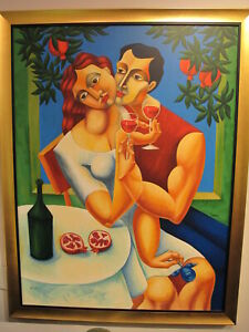 """YUROZ """"TOAST TO LOVE"""" Serigraph on Canvas Framed Signed Numbered"""