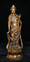 """8"""" Old China Boxwood Wood Carving Kwan-yin Guan Yin Goddess Boddhisattva Statue"""