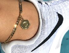 "New High Polish Initial Letter ""C"" Gold Tone Adjustable Anklet Ankle Bracelet"