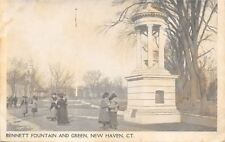 New Haven Connecticut~Bennett Fountain~Victorian Ladies Carry Bags on Green~1910
