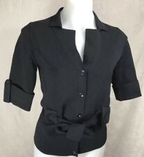 SATCH Women's Button Front Short Sleeve Italian Yarn Belted Cardigan Sz M-L