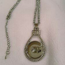 Fits Ginger Snaps SNAP PENDANT Rhinestone Necklace w/chain Interchangeable 18mm