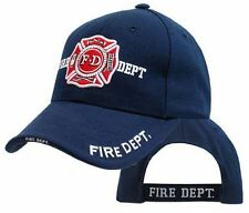 Fire Department Navy Blue Adjustable Deluxe Cap Hat White Raised Embroidery 9365