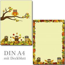 Schreibblock Eulen buntes Herbstlaub A4 25 Blatt Briefpapier Motivpapier Block