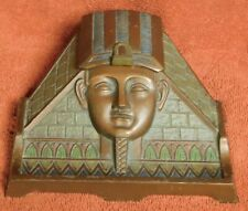 Antique Polychrome cast Iron Egyptian Inkwell HL Judd Company Pharoah Pyramid