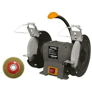 Titan 200Mm C-Aluminium Electric Bench Grinder 240V Tool Sharp 400W 30 60 Grit