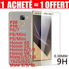 Lot2 Vitre Film Protection Verre Trempé Huawei P20/P8/9/10 Honor Mate Y6/7 Smart