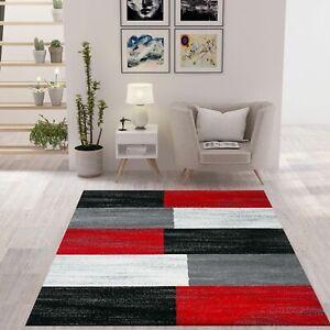 Teppich Rot Grau Schwarz Weiß Kariert Kurzflor