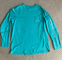 Men's Vineyard Vines Logo Pocket Long Sleeve T Shirt Green Whale L Large