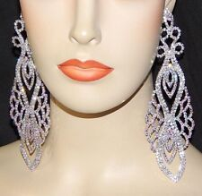 18K WHITE GOLD PLATED CUBIC ZIRCONIA 15 CM LONG DANGLE STATEMENT EARRINGS