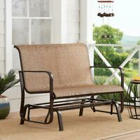 Patio Glider Bench Outdoor Chaise Chair Loveseat 2 Person Garden Furniture Metal