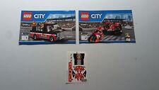 Lego City!!! instructionsand Pegatinas solamente!!! Para 60084 Bicicleta de carreras transportador
