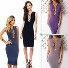 Ladies Slim Bandage Bodycon Party Dress Lace Up Cocktail Clothing Size 6 8 10 12