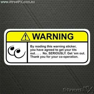 BOOBS Show your Visor Warning Sticker Decal Funny R Rated