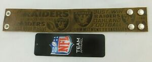Oakland Vegas LA Raiders Crazy Horse Leather Cuff Bracelet - Brown Embossed NFL