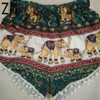 Details about  Feitong Summer Women High Waist Shorts Boho Elastic Waist Tassels