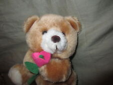 "VINTAGE RUSS BERRIE TEDDY BEAR BLOSSOM PLUSH FELT FLOWER 5"" TALL"