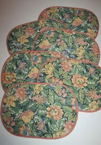 Vintage 80's Set of 6 Rose Pink Floral Oval Quilted Fabric Placemats Reversible