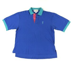 Vintage 90s Walker Brothers Golf Polo Shirt Large Cotton Colorblock Made In USA