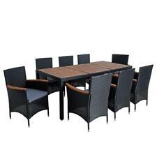 Stühle Gestell Metall schwarz Sitz und Rücken Rattan