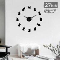 Home Wall Clock Watch Bulldog Designed 3D DIY Acrylic Mirror Stickers Decoration