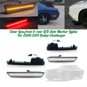 Clear Lens Front&Rear Side Marker Lights LED Lamps For 2008-14 Dodge Challenger