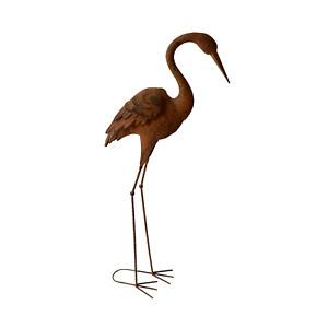 Crane Metal Bird Medium Head Down Garden Ornament Sculpture Statue Outdoor Decor
