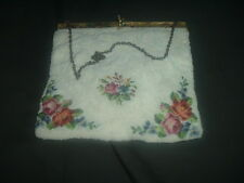 3 antique / vintage purses embroidered flowers and beading, clutch and pairpoint