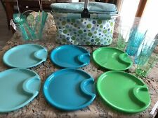 Pampered Chef INSULATED PICNIC BASKET Bundle W/ CADDY & UTENSILS & PLATES For 6