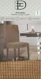 Dainty Home Textured Taupe Dining Chair Cover Slipcover NIP