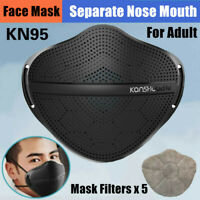 Separate Nose Mouth Adult Face Masks with Carbon Filter Purify Reusable Washable
