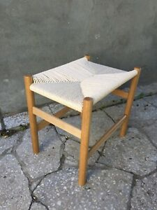 Solid oak stool with woven danish cord seat, woven bench