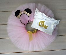 Pink & Gold Minnie Mouse Cake Smash Outfit - 3 Piece First Birthday Baby Girl