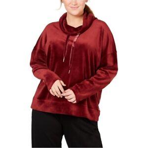 Calvin Klein Womens Velvet Pullover Sweatshirt Burgundy Stretch Plus 2X New