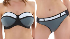 Freya Bikini Set Bondi Top Brief Size 34E S 10 12 Bandeau Bra Black Grey White