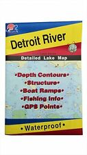 Detroit River Detailed Fishing Map, GPS Points, Waterproof, Depth Contours #L131